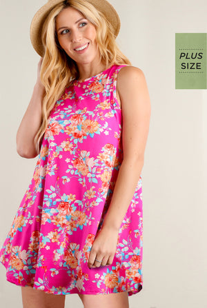 PLUS Fuchsia Floral Pocketed Tunic Dress