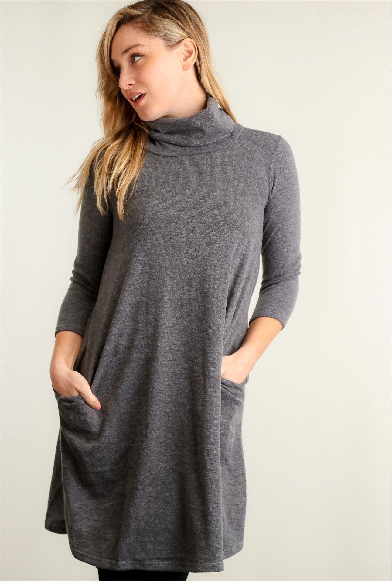 Charcoal Cowl Pocketed Dress