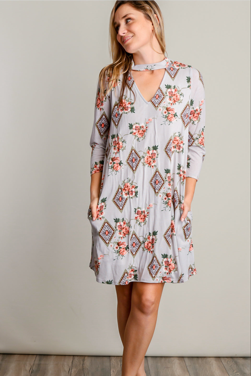Stone Floral Inner Lined Tribal Printed Choker Dress