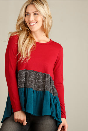 Red Colorblock Blouse