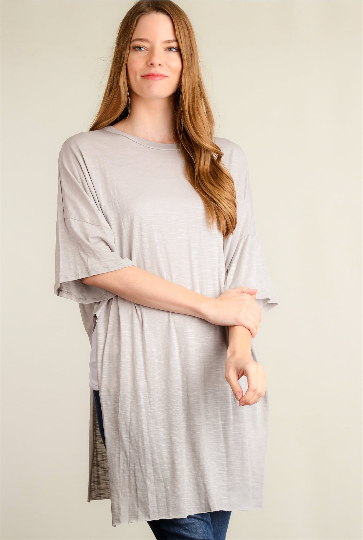 Grey Cotton Side Slit Tunic