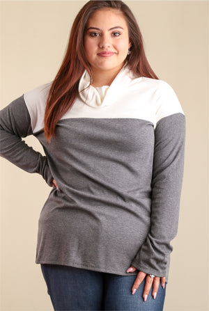 PLUS Ivory & Grey Colorblock Sweater