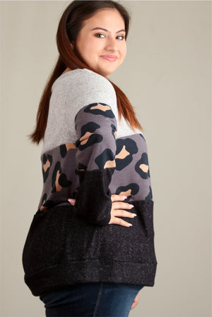 Plus Charcoal Animal 2 Tone Colorblock Sweater
