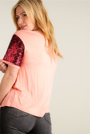 Pink Cactus & Red Sequin Sleeve Top