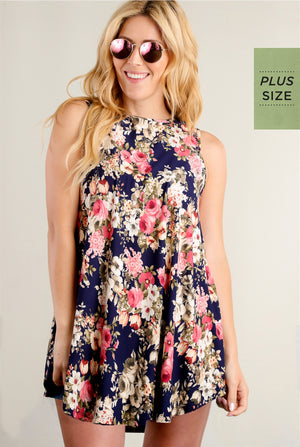 PLUS Navy Floral Pocketed Tunic Dress