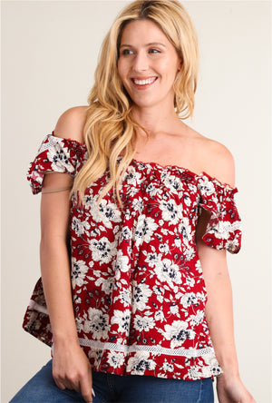 Red Floral Off Shoulder Blouse