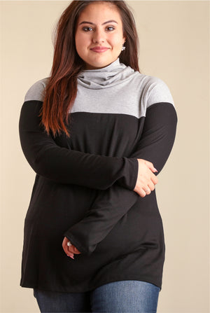 PLUS Black & Grey Colorblock Sweater