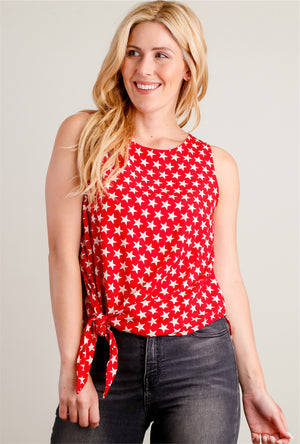 Red Star Tie Hem Blouse