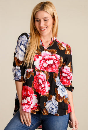 Black Floral Breathable Blouse