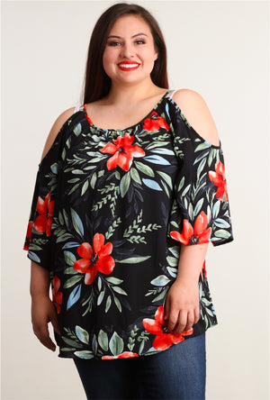 Plus Black & Red Floral Cold Shoulder Blouse