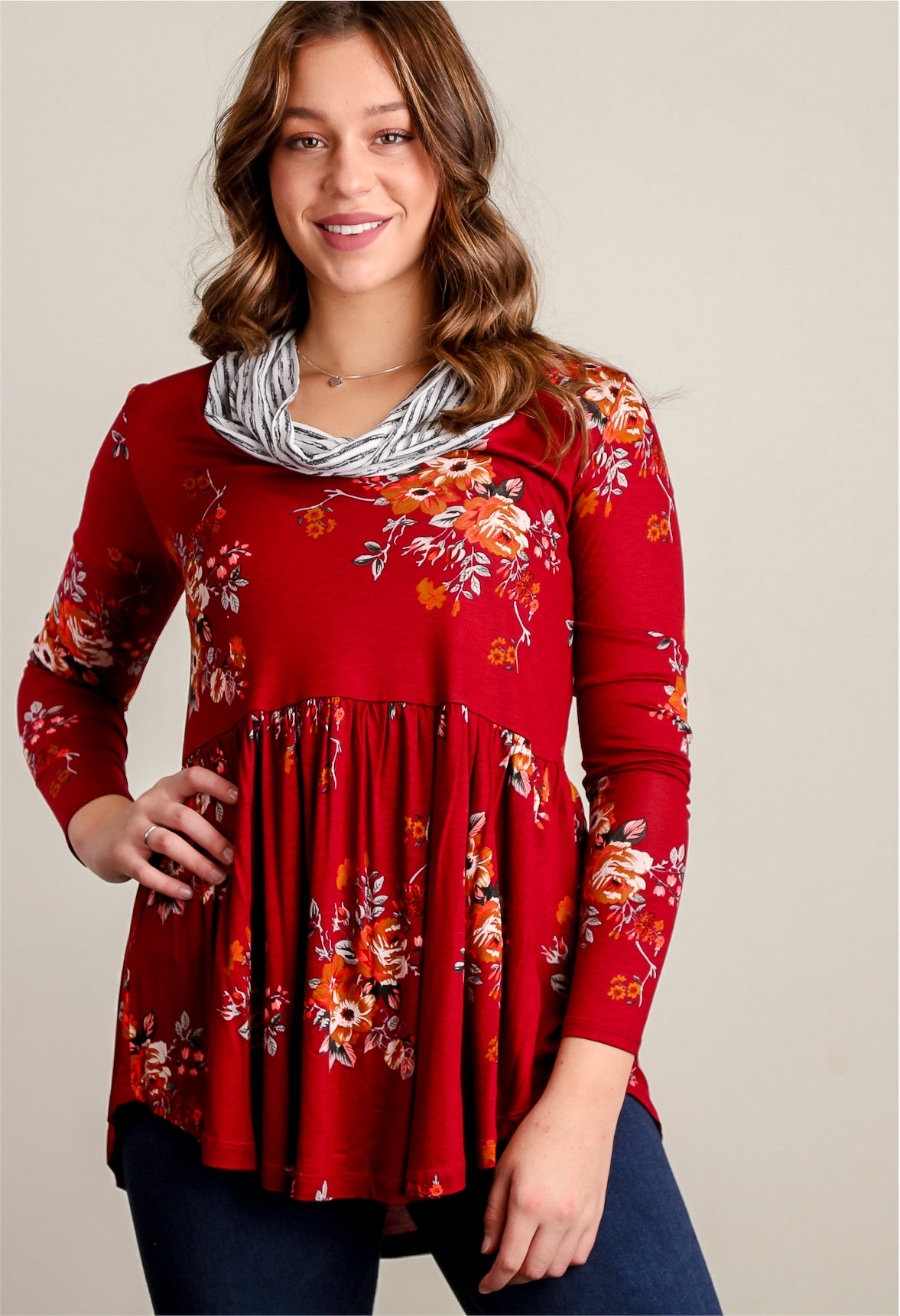 Wine Floral Cowl Neck Tunic