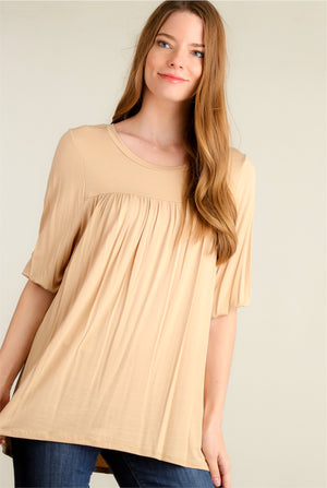 Taupe Pleated Blouse