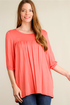 Coral Pleated Blouse