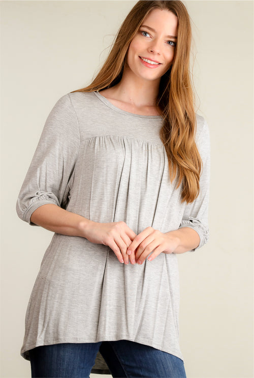 Grey Pleated Blouse