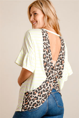 Neon & White Animal Print Tie Hem Blouse