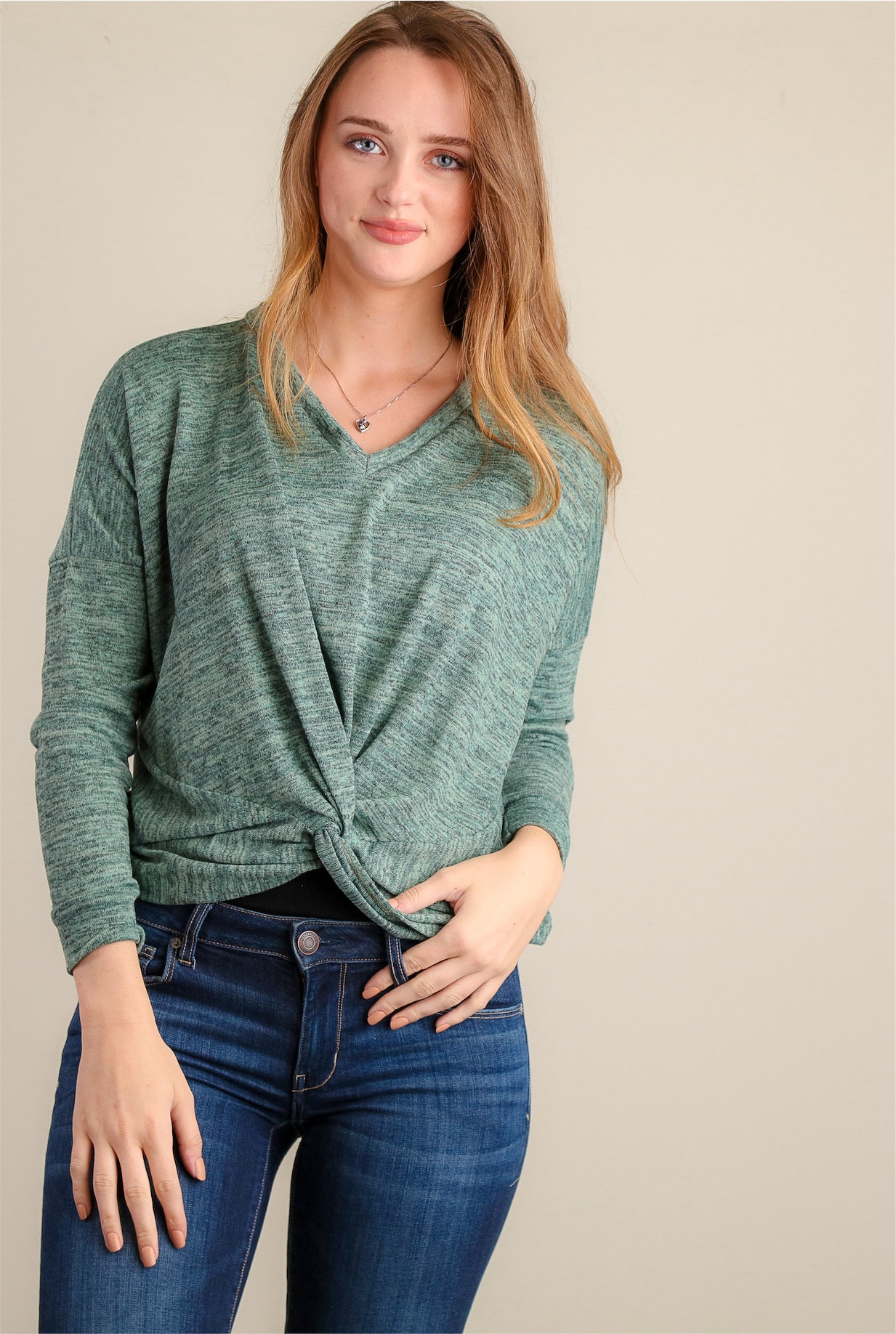 Sage Knot Front Sweater