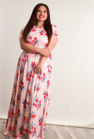 Plus Blush Floral Fit & Flare Pocketed Maxi Dress