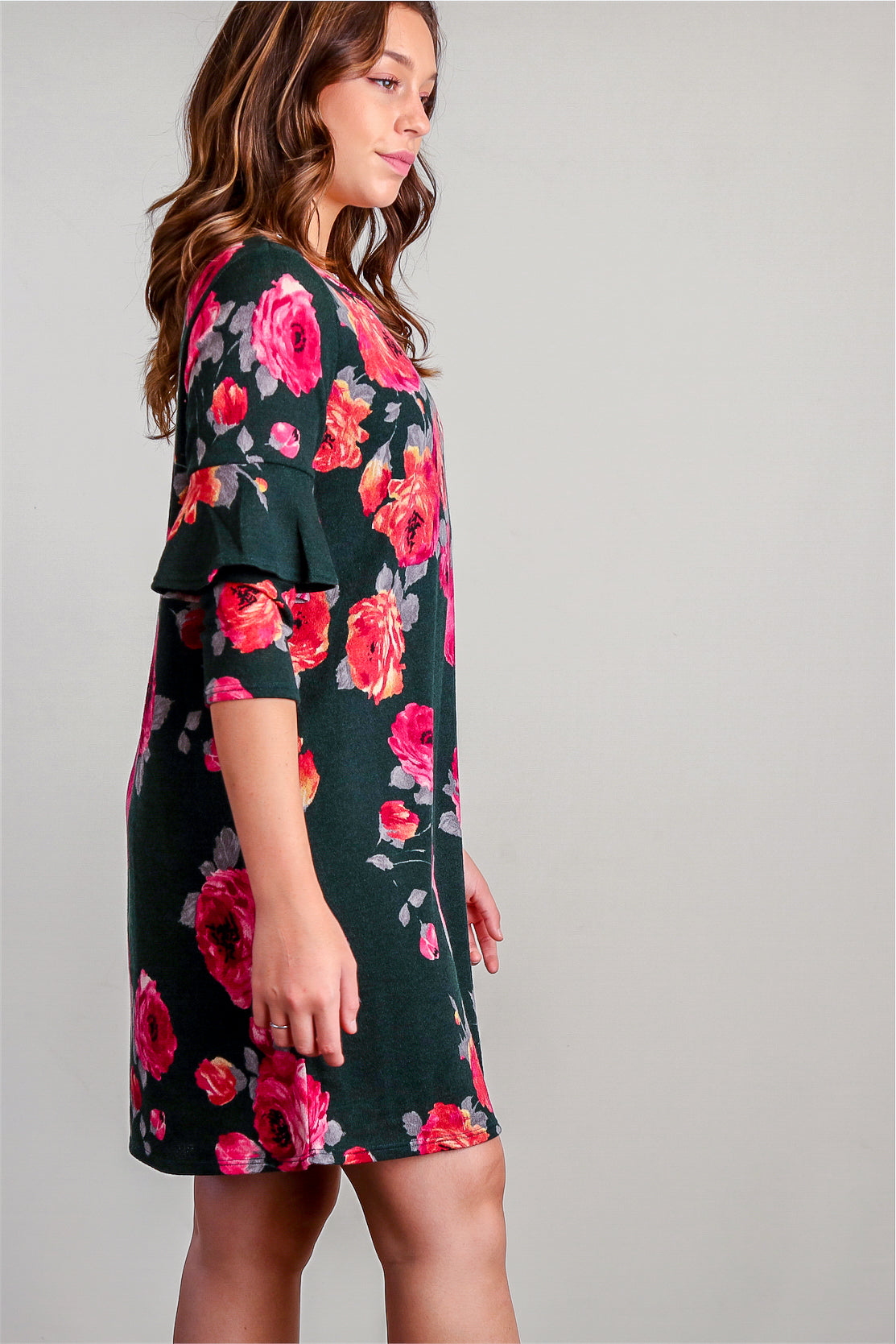 Emerald Floral Green Bell Sleeve Lined Dress