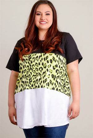 Plus Neon Green, Ivory & Black Animal Colorblock Blouse