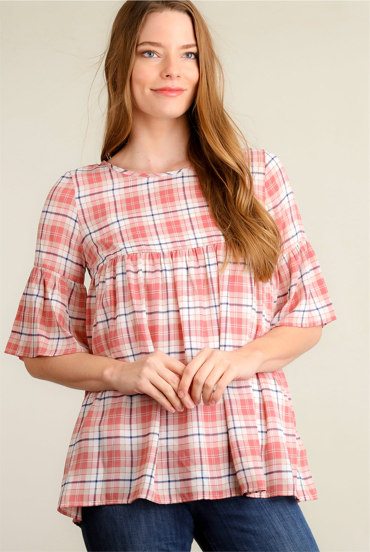 Blush Plaid Print Bell Sleeve Baby Doll