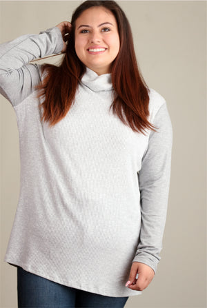 Plus Grey Ribbed Cowl Neck Blouse