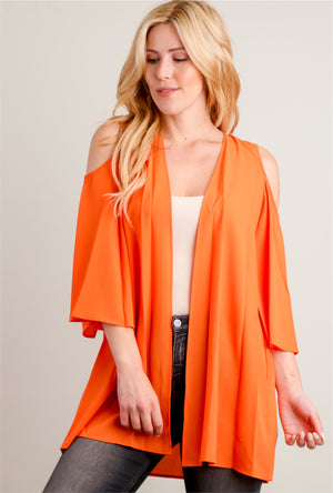 Dark Orange Cold Shoulder Kimono