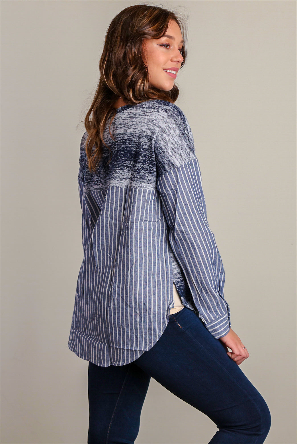 Navy Stripe Design Blouse