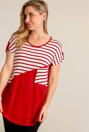 Red & White Stripe Pocket Design Blouse