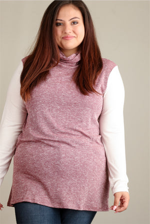 Plus Burgundy Ribbed Cowl Neck Blouse