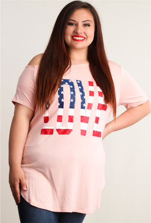 Plus Blush Flag Off Shoulder Blouse