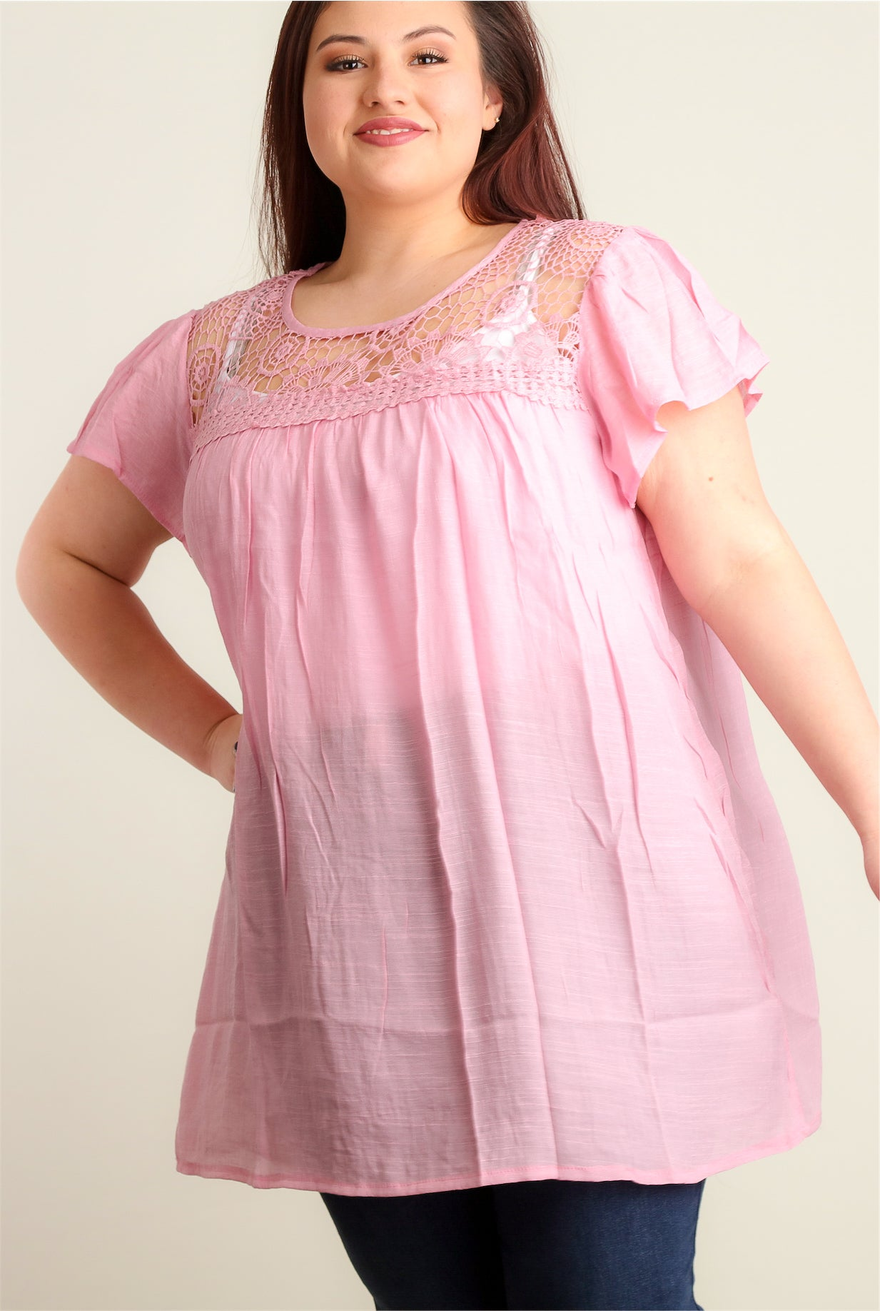 Plus Blush Crochet Tunic