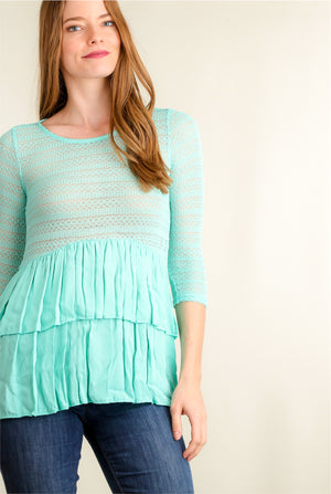 Mint Crochet Tiered Blouse