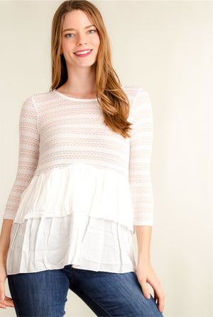 Ivory Crochet Tiered Blouse