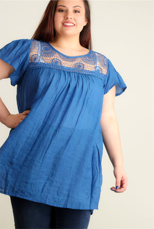 Plus Blue Crochet Tunic
