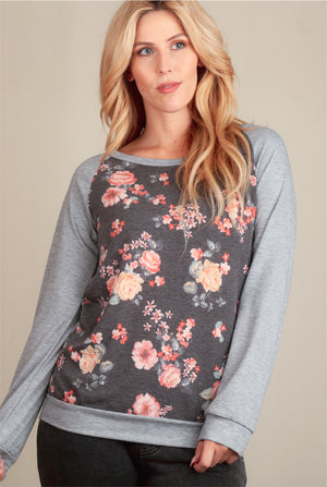 Grey Floral French Terry Sweater