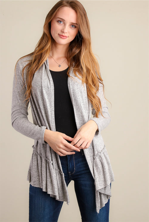 Marled Grey Soft Synch Hem Cardigan