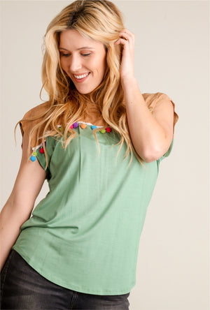 Suede Mint Colorblock Embellished Top