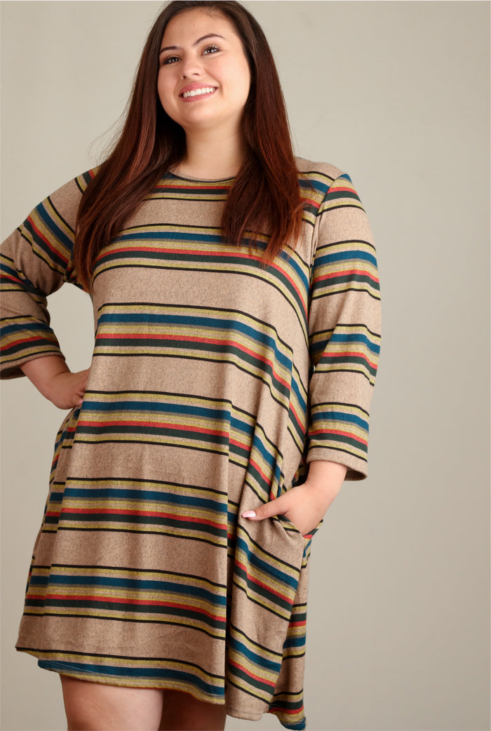 Plus Taupe Stripe Pocket Dress