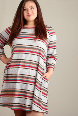 Plus Grey Stripe Pocket Dress