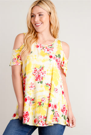 Yellow Tie Dye Floral Cold Shoulder Blouse