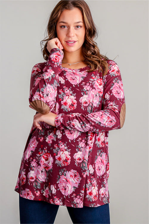 Maroon Floral Elbow Patch Tunic