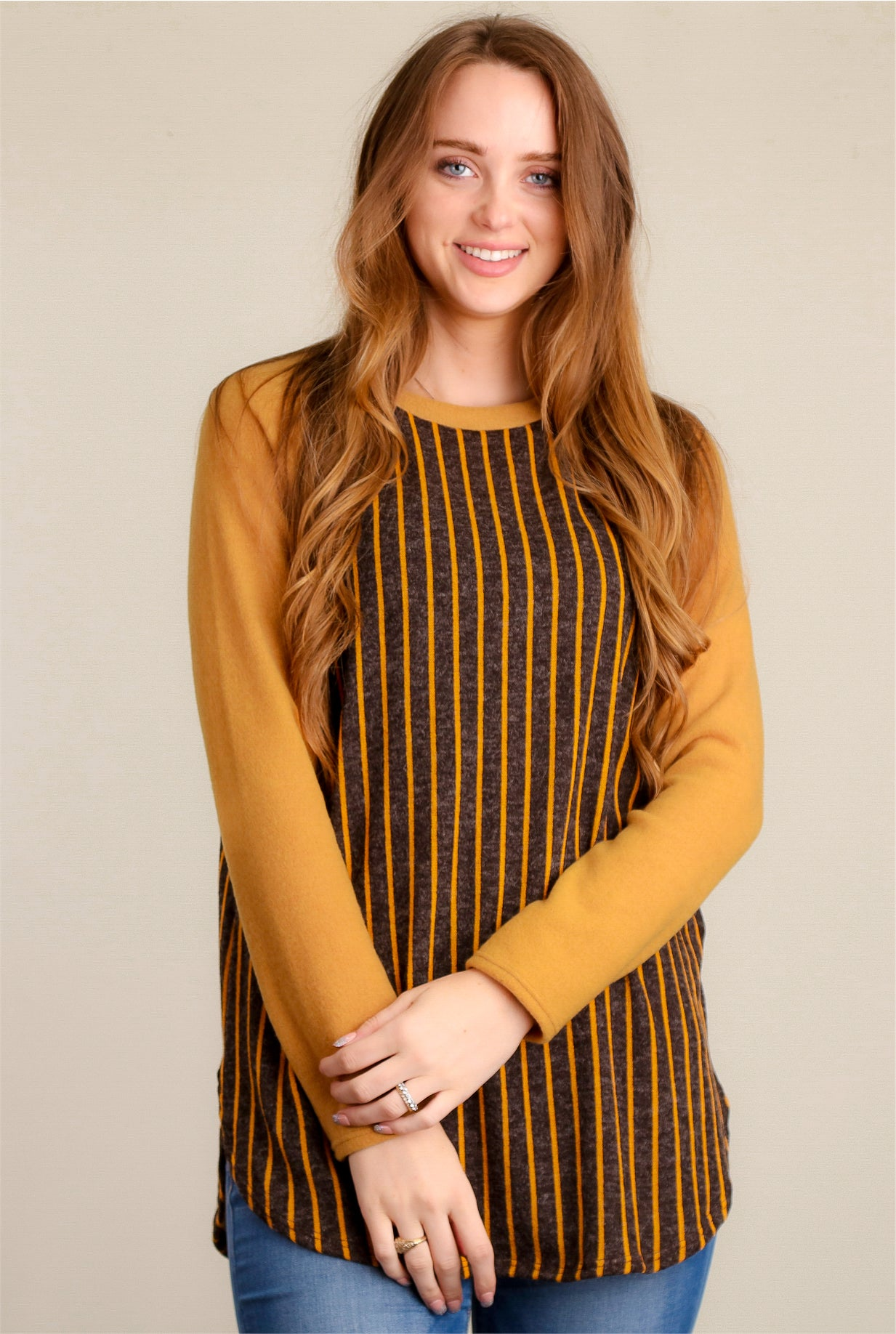 Mustard Stripe Tunic Sweater
