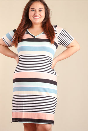 PLUS Multi Stripe Design Dress