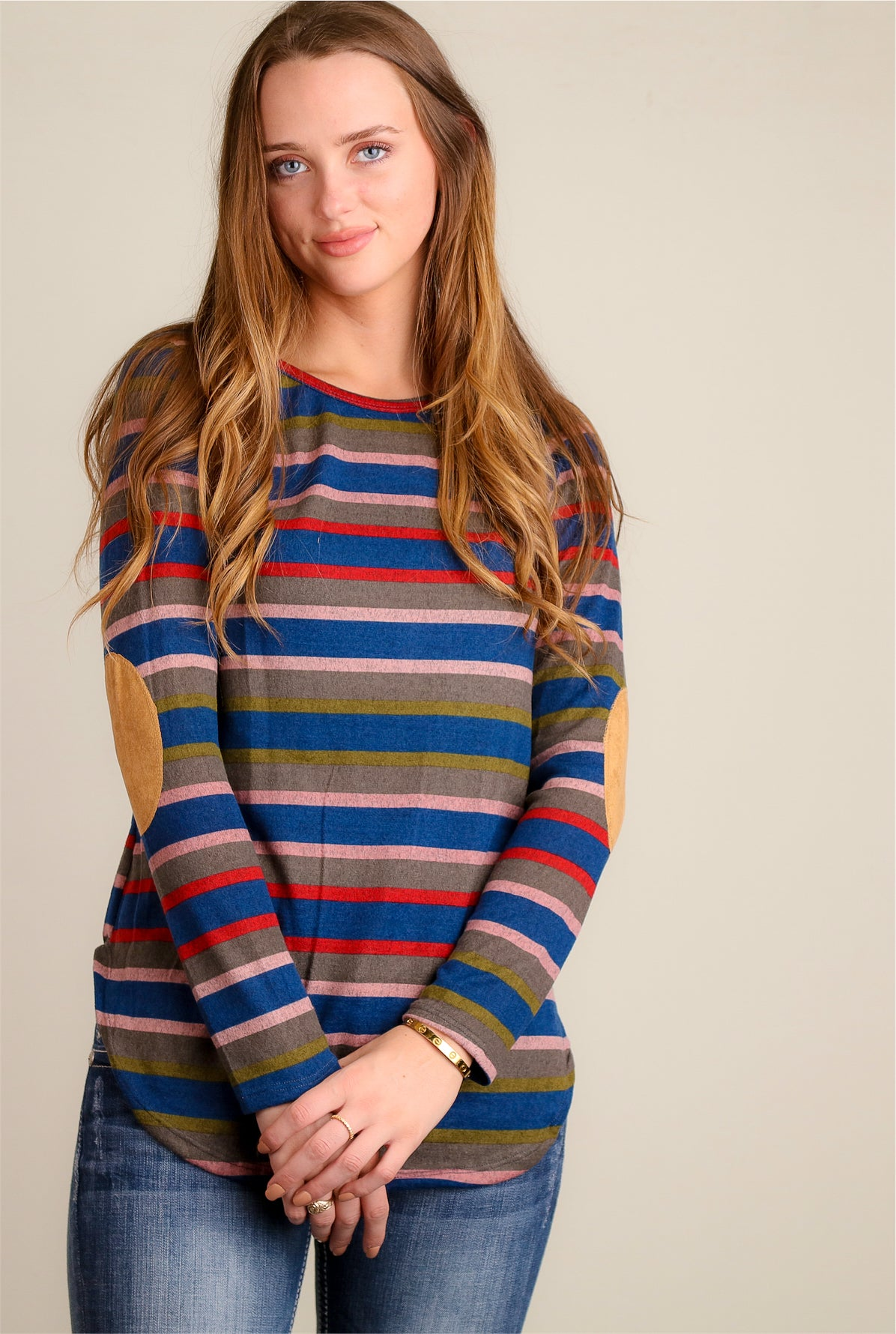 Navy & Green Stripe Elbow Patch Blouse
