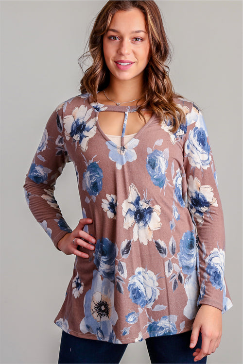 Brown Floral Panel Design Tunic