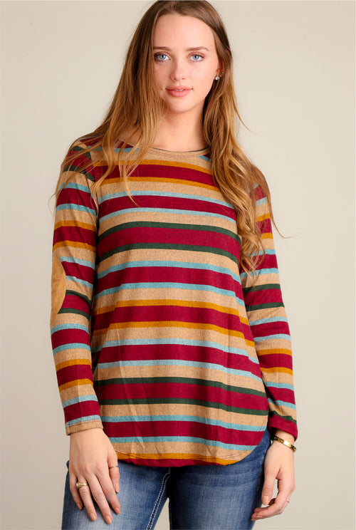 Burgundy & Mustard Stripe Elbow Patch Blouse