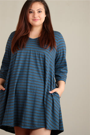Plus Blue Stripe Dress