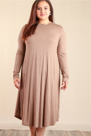 PLUS Brown Solid Dress