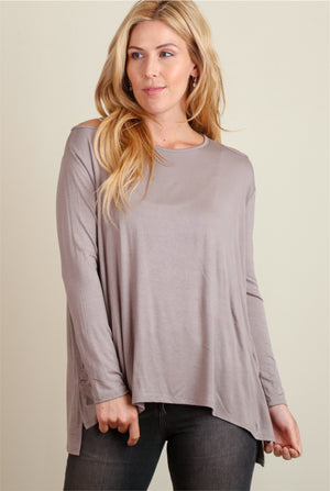 Off Grey Cold Shoulder Blouse