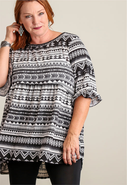 Plus Tribal Printed BabyDoll Tunic